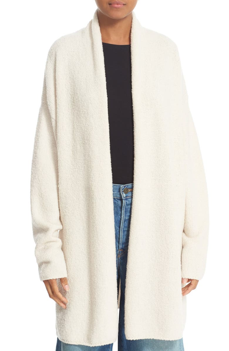 VINCE Texture Wool Blend Shawl Cardigan, Main, color, OFF WHITE