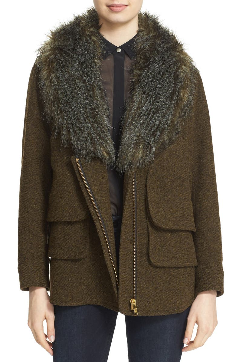 SMYTHE 'Flak' Wool Blend Jacket with Removable Faux Fur Collar, Main, color, ARMY