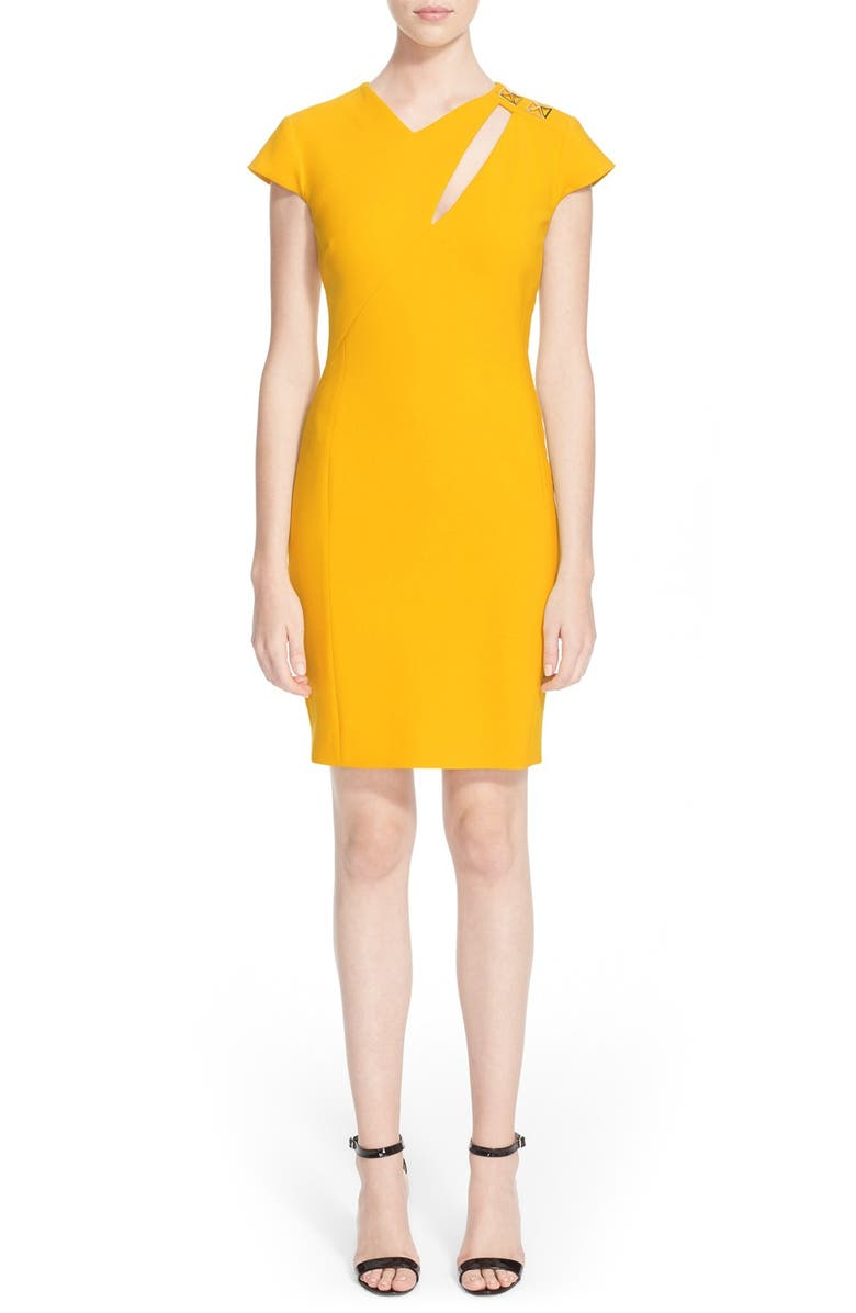 VERSACE COLLECTION Cutout Cap Sleeve Sheath Dress, Main, color, 700