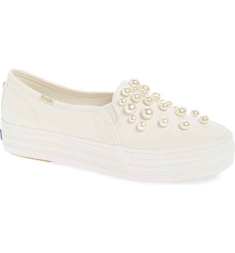 KEDS<SUP>®</SUP> FOR KATE SPADE NEW YORK Keds<sup>®</sup> x kate spade new york triple decker embellished slip-on sneaker, Main, color, 100