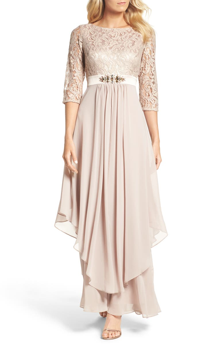 ELIZA J Embellished Lace & Chiffon Gown, Main, color, TAUPE