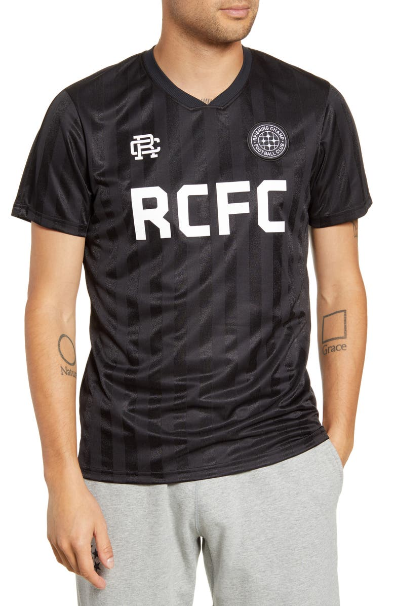 REIGNING CHAMP Football Club Stripe V-Neck Jersey, Main, color, 001