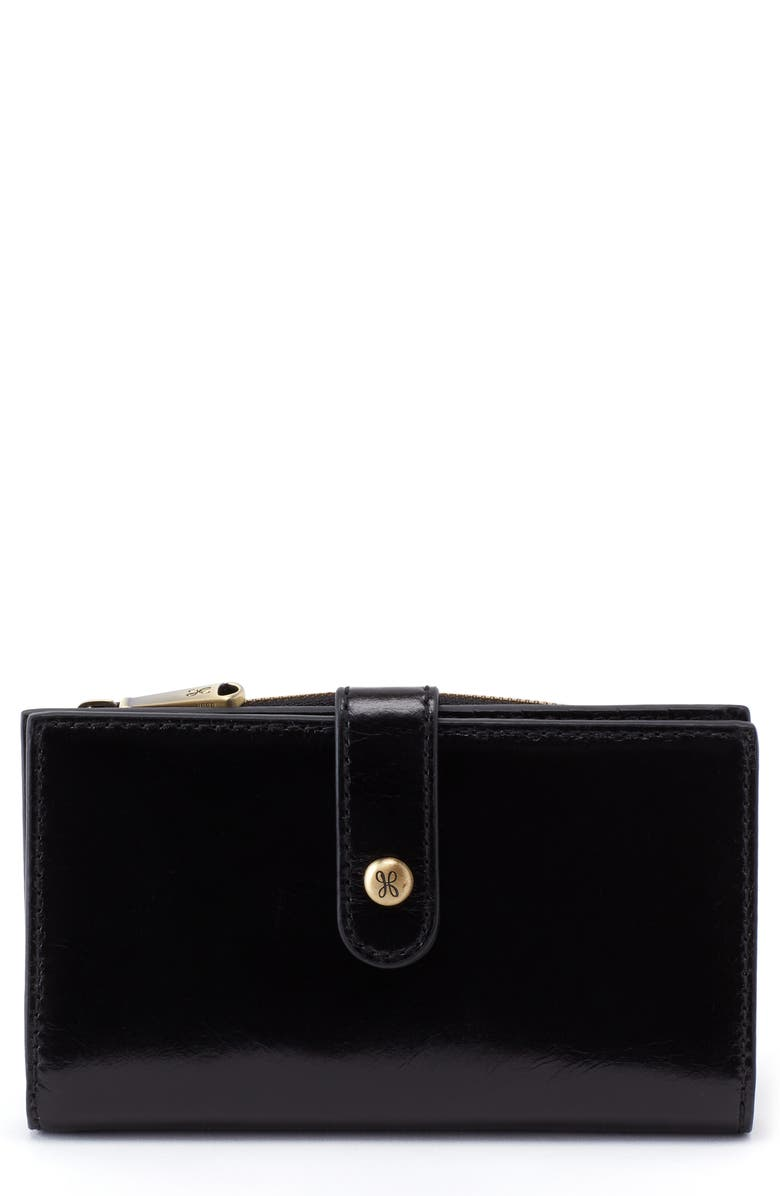 HOBO Buck Leather Continental Wallet, Main, color, 001