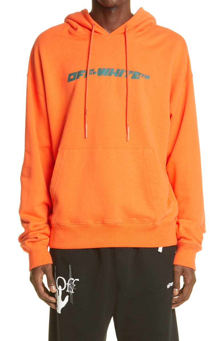OFF-WHITE Trellis Worker Logo Graphic Cotton Hoodie, Main, color, 800