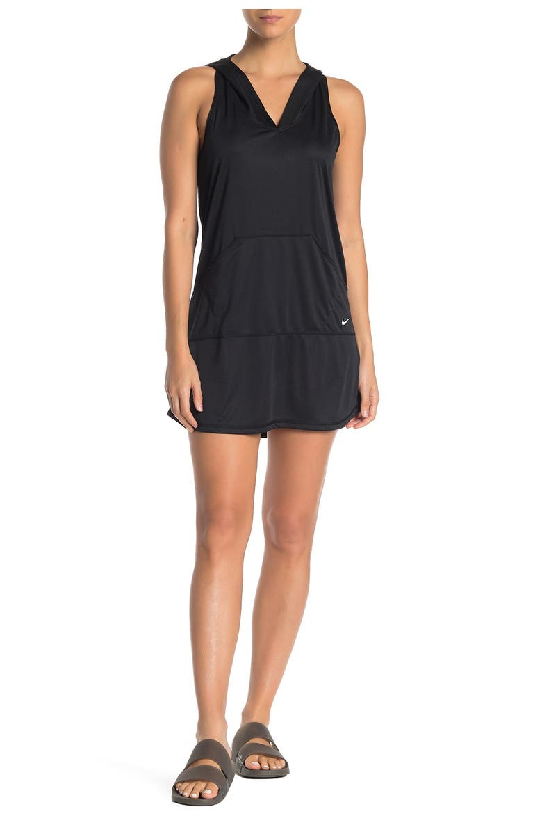 NIKE Hooded Dress Cover-Up, Main, color, BLACK