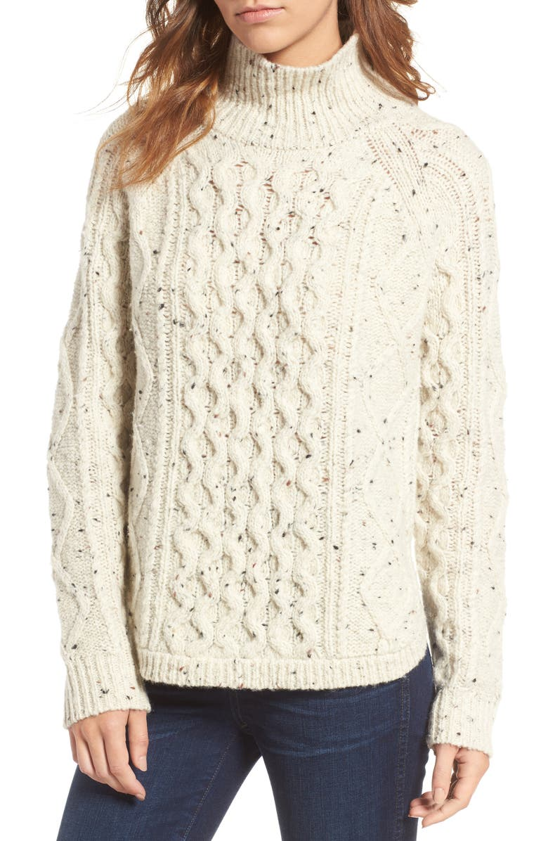 MADEWELL Cable Knit Sweater, Main, color, DONEGAL OATMEAL