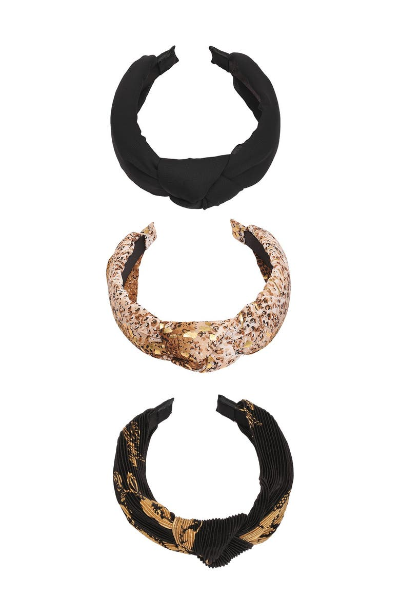 BERRY Knotted Headbands - Pack of 3, Main, color, BLACK/GOLD