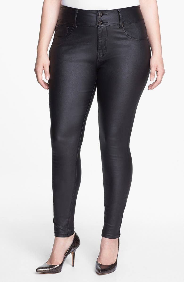 CITY CHIC Wet Look Stretch Skinny Jeans, Main, color, Black