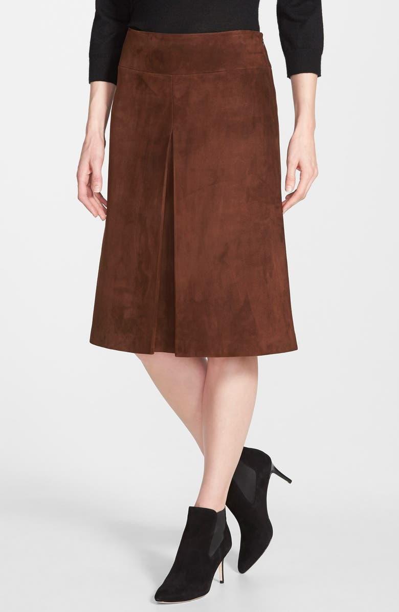 NORDSTROM COLLECTION Pleat Front Suede Skirt, Main, color, BROWN CHESTNUT