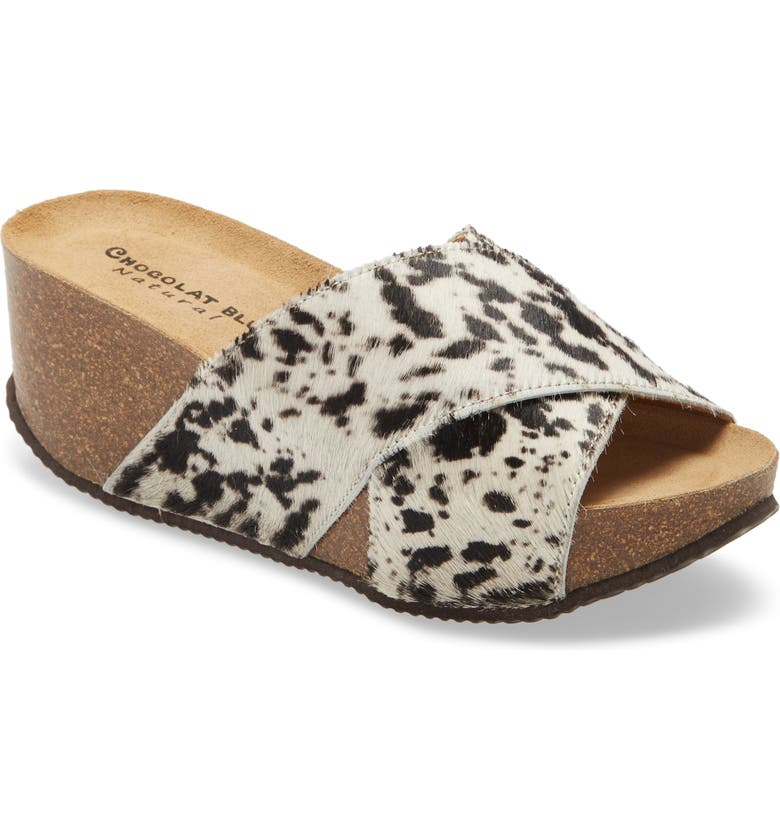 CHOCOLAT BLU Estella Platform Slide, Main, color, COW PRINT CALF HAIR