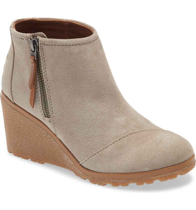 TOMS Avery Wedge Bootie, Main, color, BROWN