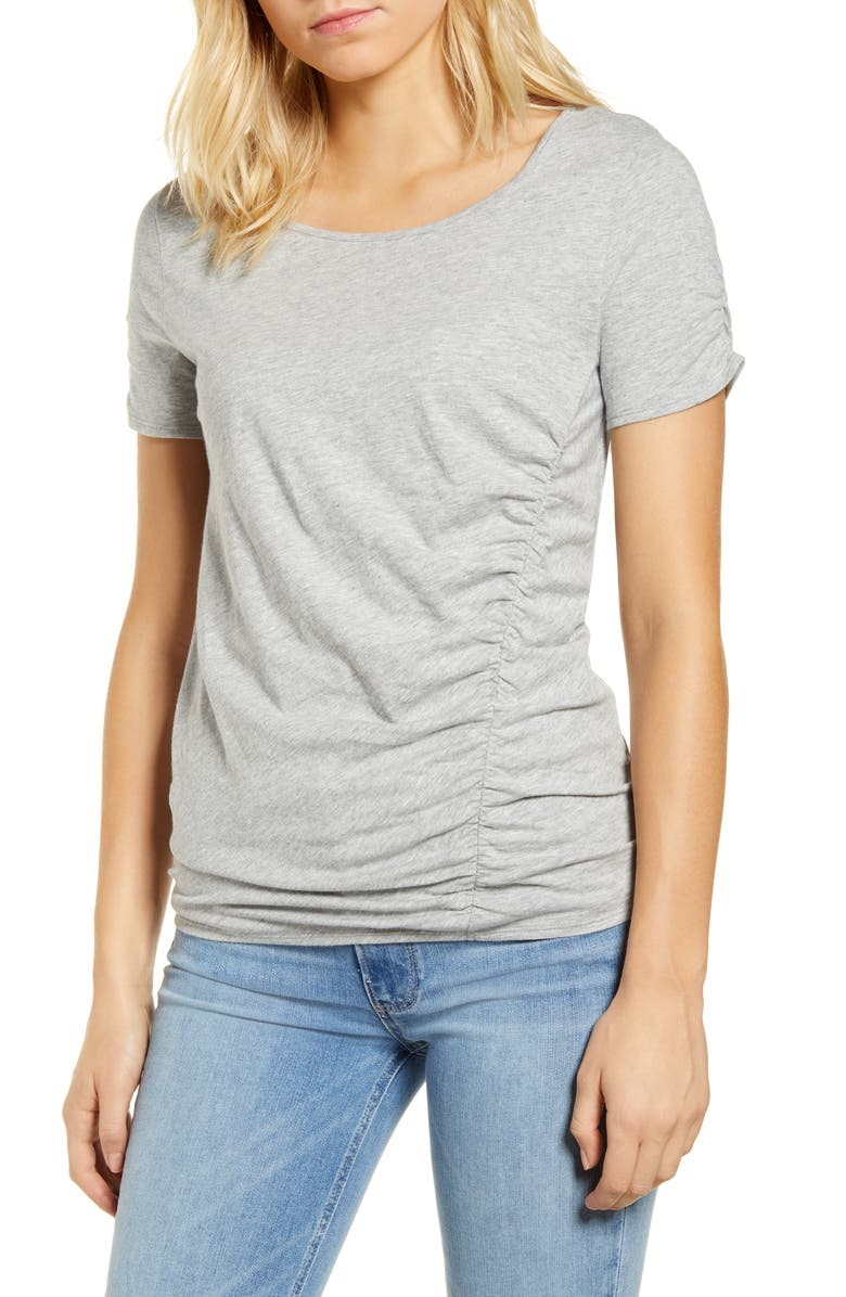 CASLON<SUP>®</SUP> Ruched Knit T-Shirt, Main, color, GREY HEATHER
