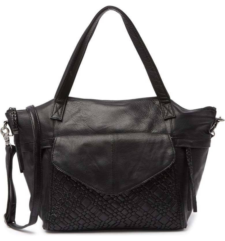 DAY AND MOOD Panna Leather Woven Satchel, Main, color, BLACK