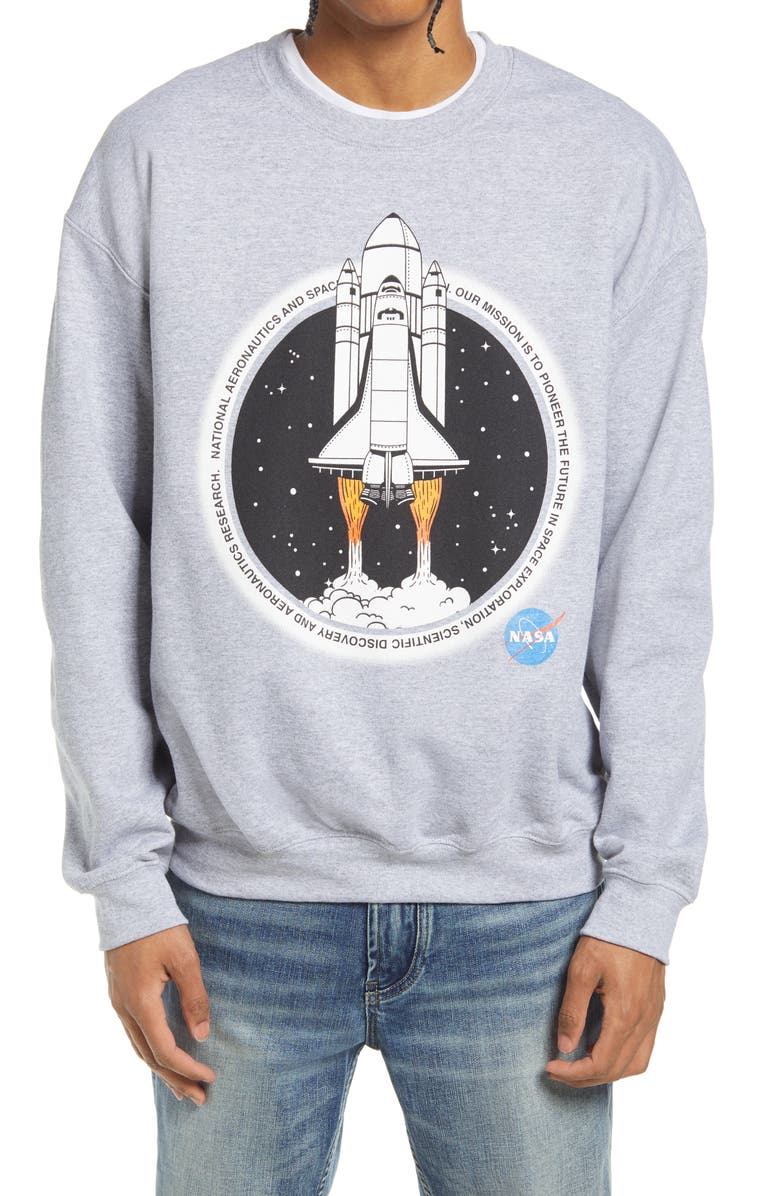 PHILCOS Men's NASA Ship Graphic Crewneck Sweatshirt, Main, color, ATHLETIC HEATHER