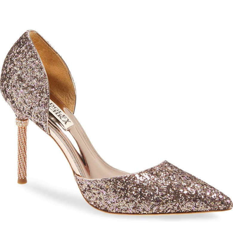 BADGLEY MISCHKA COLLECTION Ozara d'Orsay Pointed Toe Pump, Main, color, ROSE GOLD GLITTER