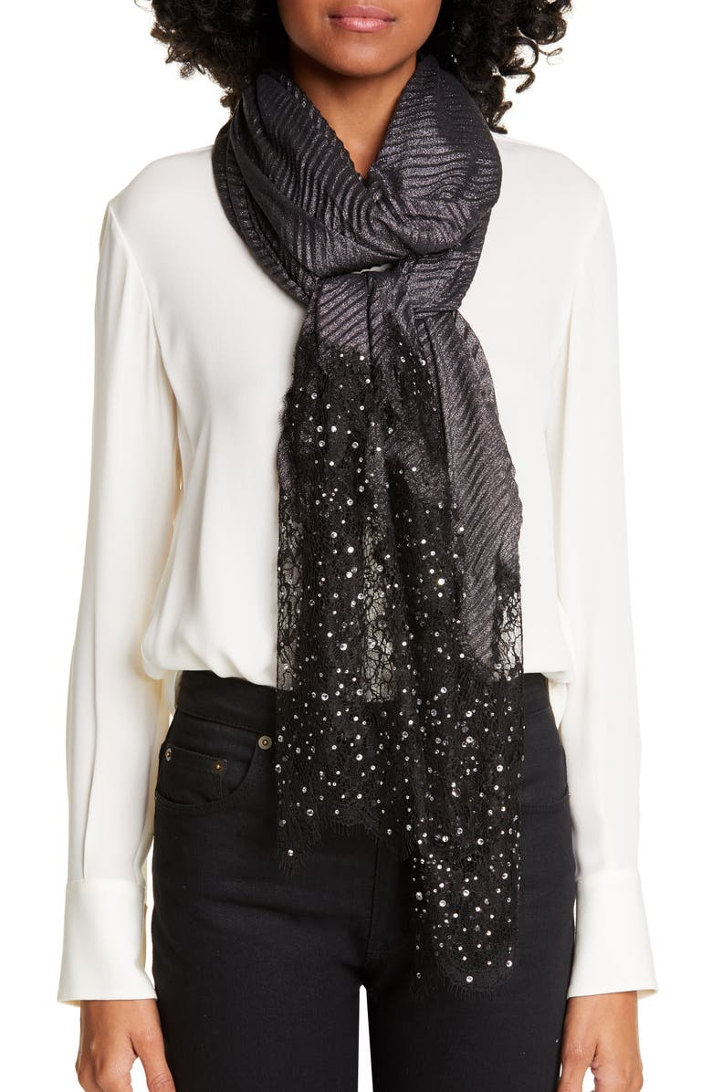 VALENTINO Crystal Embellished Lace Metallic Plissé Scarf, Main, color, 001