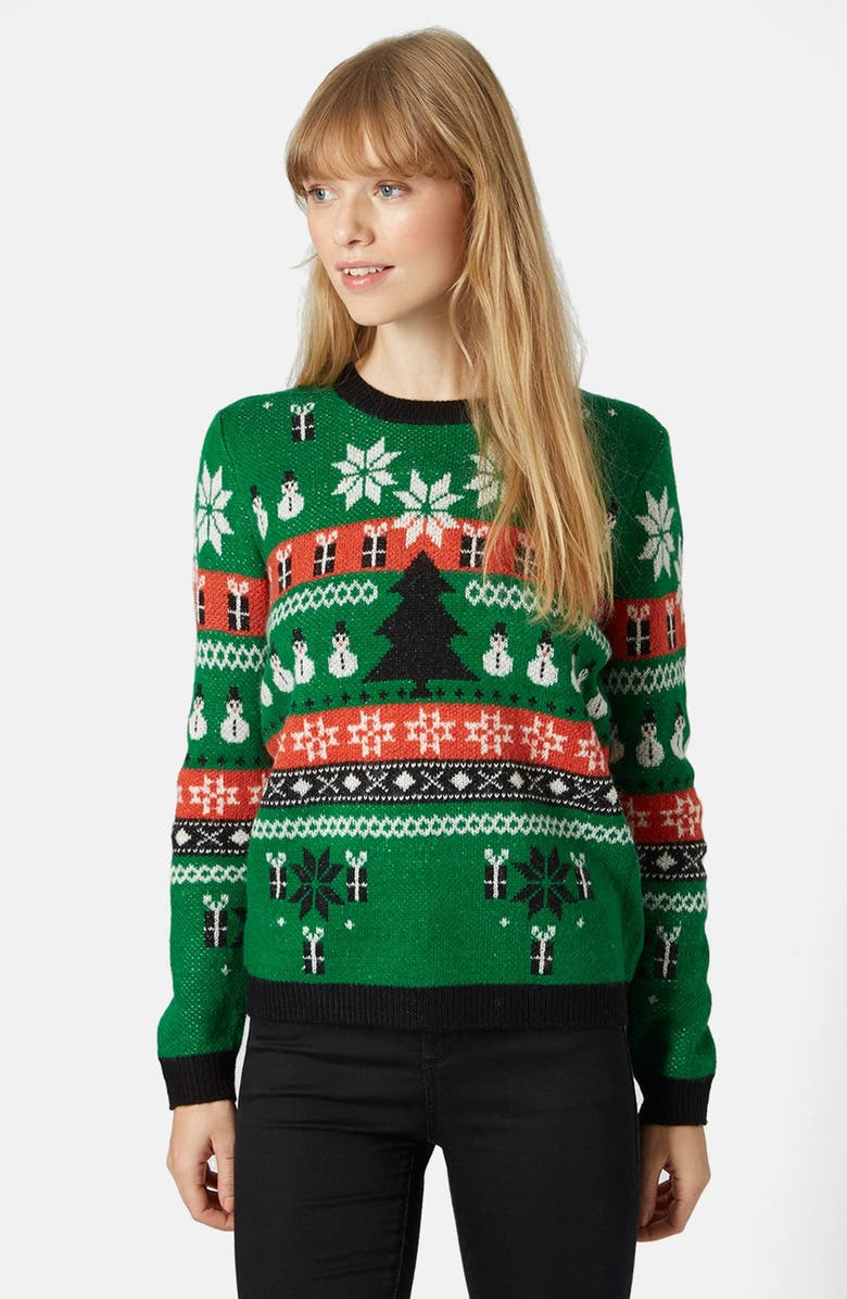 TOPSHOP Holiday Fair Isle Sweater, Main, color, 300