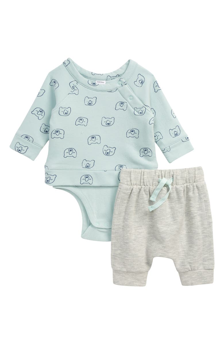 NORDSTROM BABY Graphic Print Bodysuit & Jogger Pants, Main, color, BLUE STARLIGHT BEARS