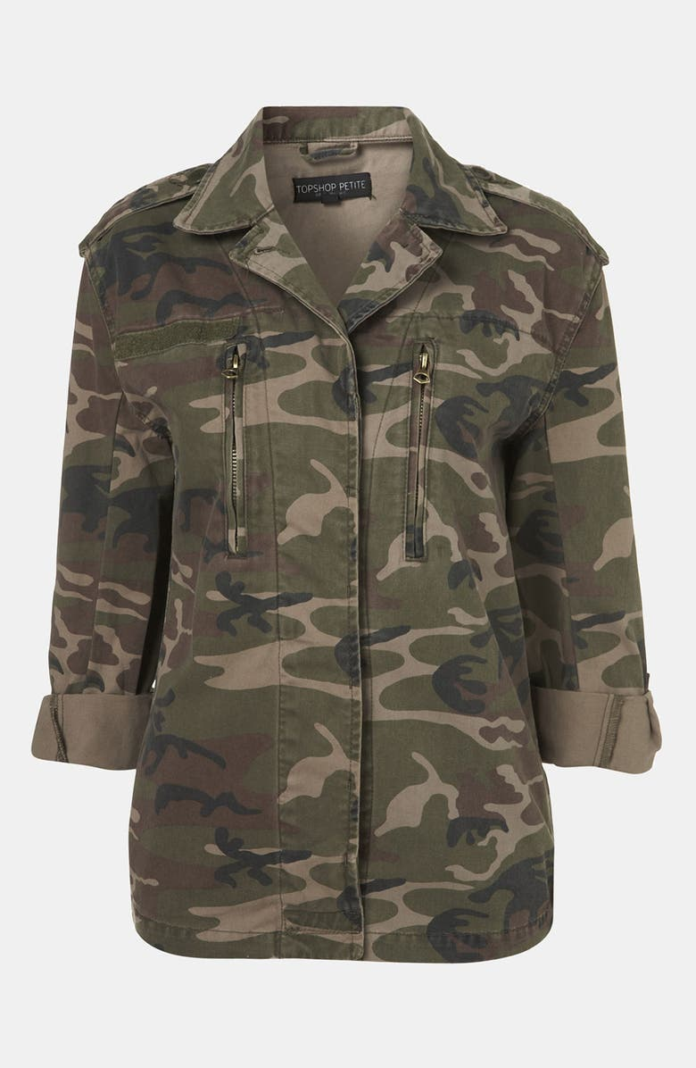 TOPSHOP Studded Camo Jacket, Main, color, 300