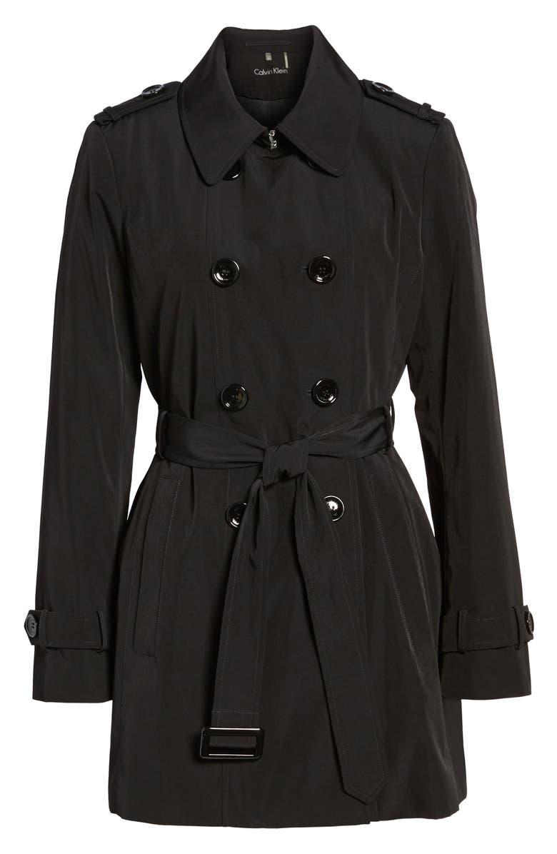 CALVIN KLEIN Double Breasted Trench Coat, Main, color, Black