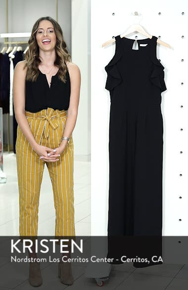 Crepe Ruffle Trim Wide Leg Jumpsuit, sales video thumbnail