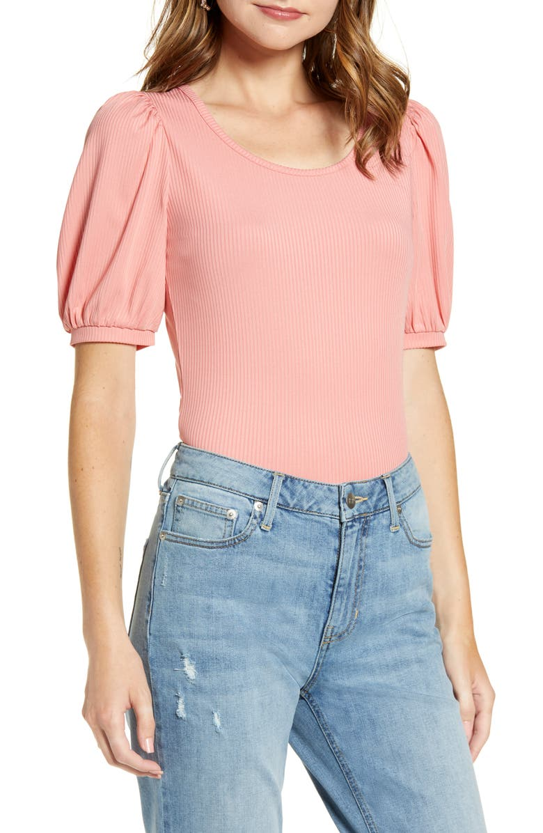 RACHEL PARCELL Ribbed Puff Sleeve Tee, Main, color, 660
