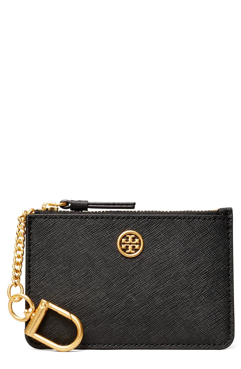 TORY BURCH Robinson Leather Card Case with Key Chain, Main, color, BLACK