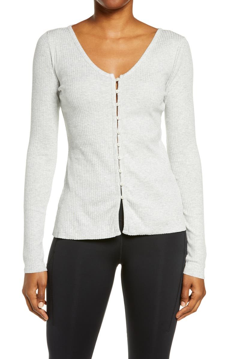 NIKE Yoga Rib Cardigan, Main, color, GREY HEATHER/ PLATINUM TINT