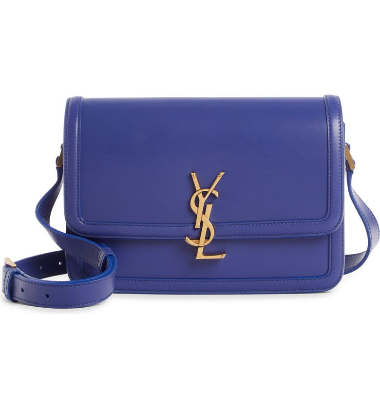SAINT LAURENT Medium Solferino Leather Shoulder Bag, Main, color, SAPHIR BLEU