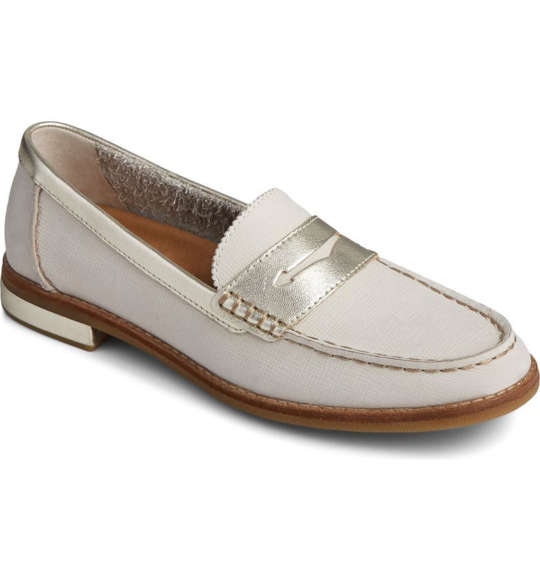 SPERRY TOP-SIDER Seaport Penny Plush Loafer, Main, color, MTLIC LINEN