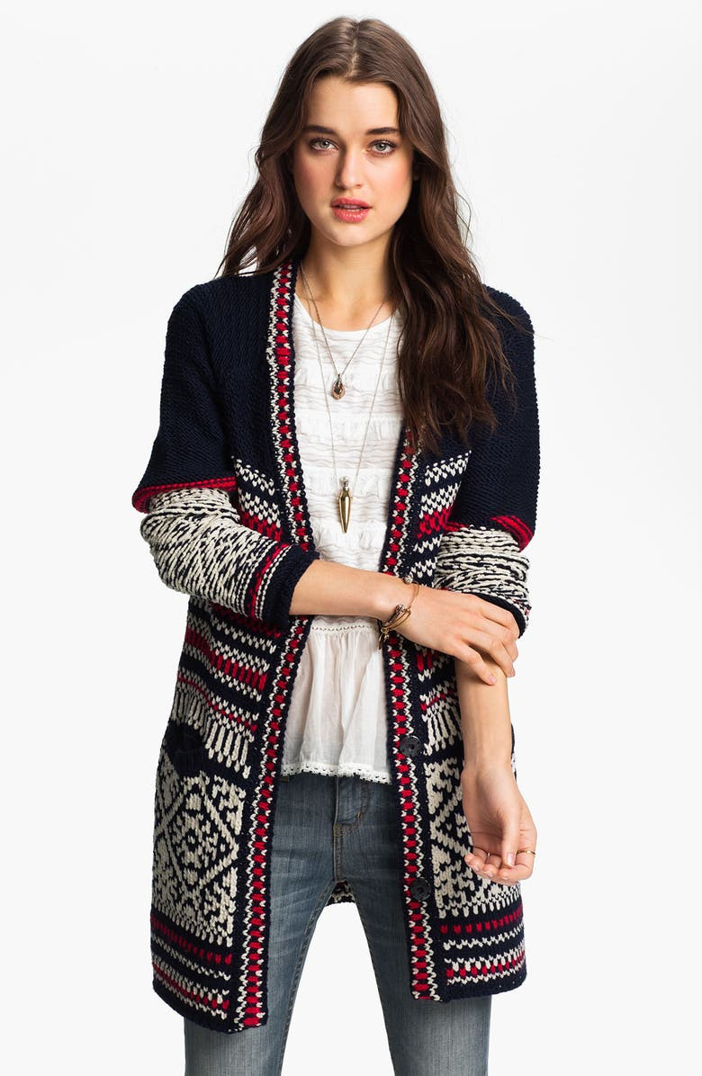 FREE PEOPLE 'Annabelle' Nordic Knit Cardigan, Main, color, Navy