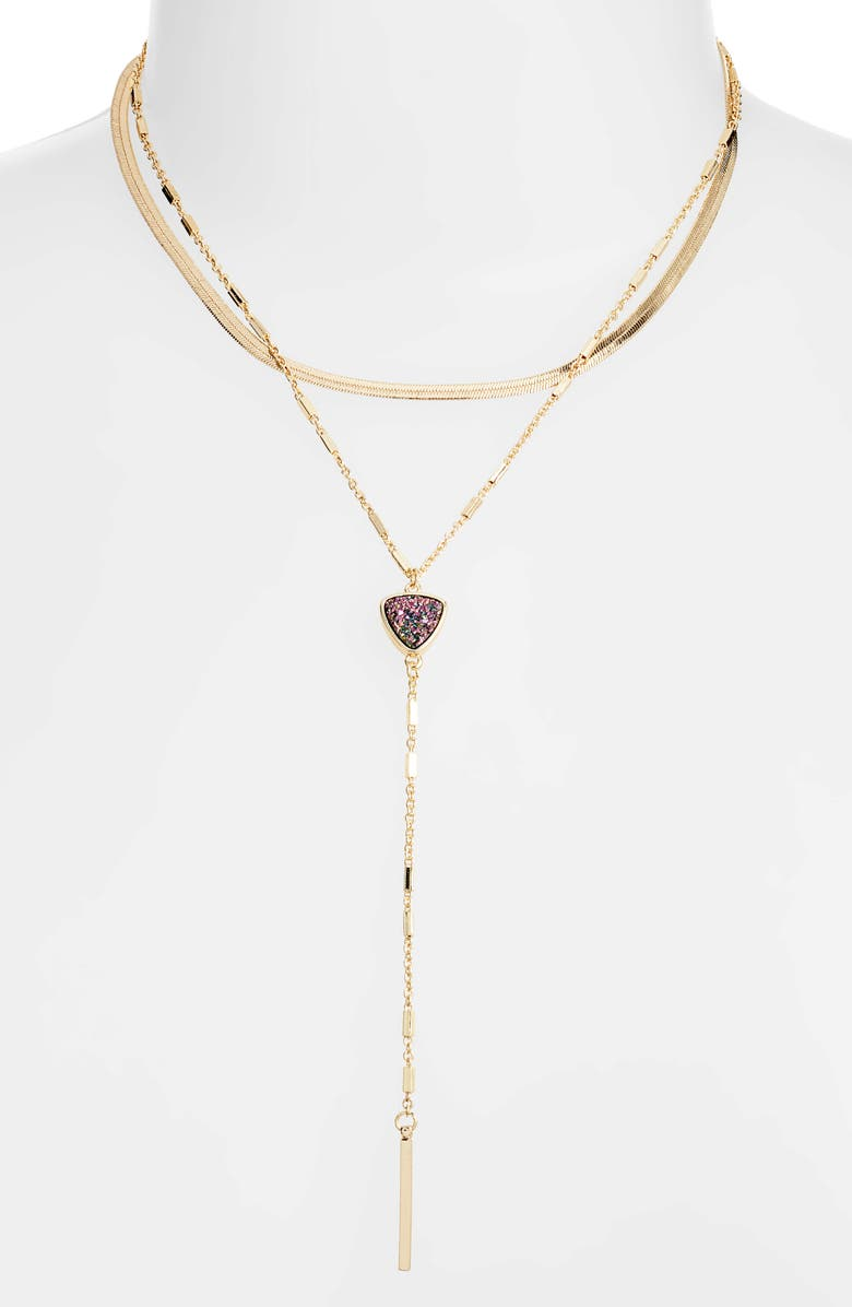 HALOGEN Layered Snake Chain Drusy Y-Necklace, Main, color, 000