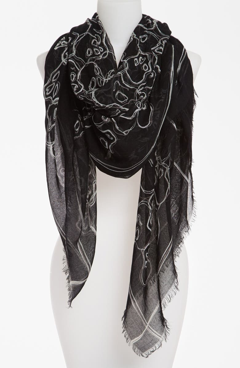 MARC BY MARC JACOBS 'Neon Skulls' Scarf, Main, color, 001