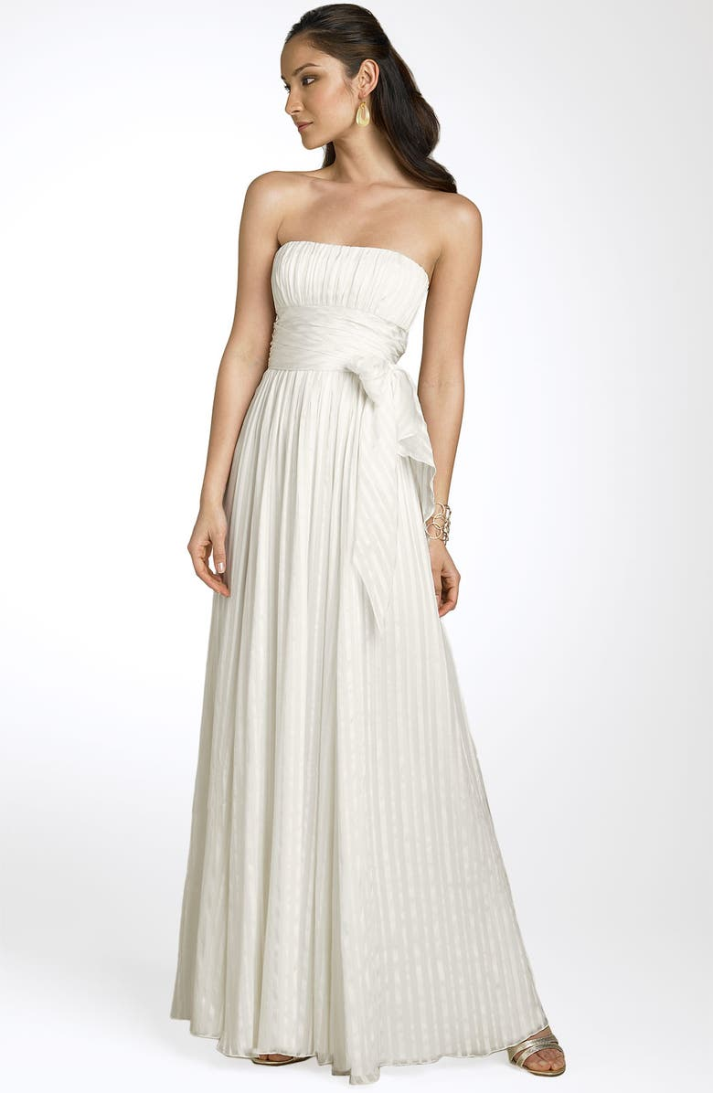 BCBGMAXAZRIA Strapless Silk Gown, Main, color, 500