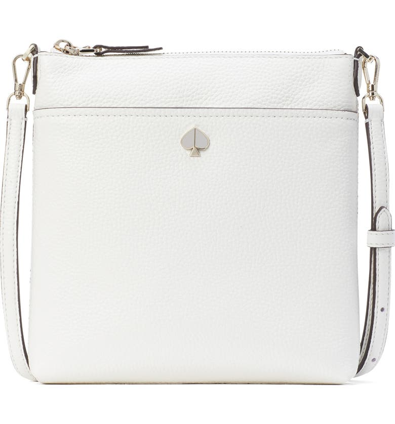 KATE SPADE NEW YORK small polly leather crossbody bag, Main, color, OPTIC WHITE