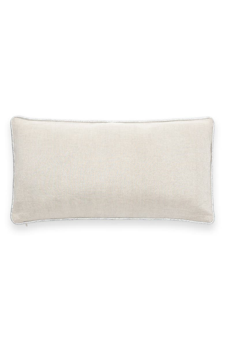 KATE SPADE NEW YORK metallic linen blend accent pillow, Main, color, NATURAL