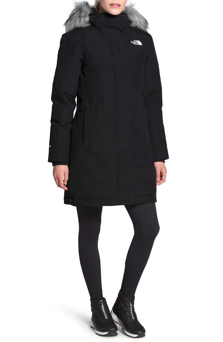 THE NORTH FACE Arctic Waterproof 550-Fill-Power Down Parka with Faux Fur Trim, Main, color, TNF BLACK