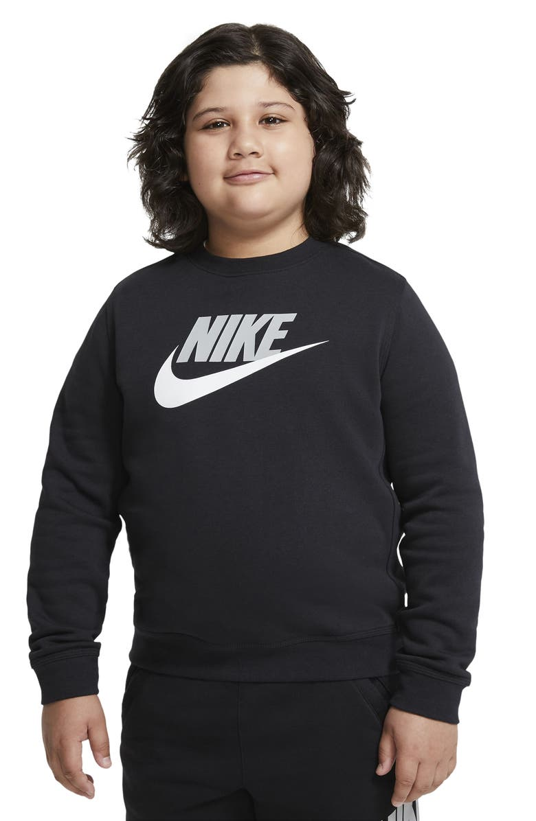 NIKE Kids' Club Future Logo Sweatshirt, Main, color, BLACK