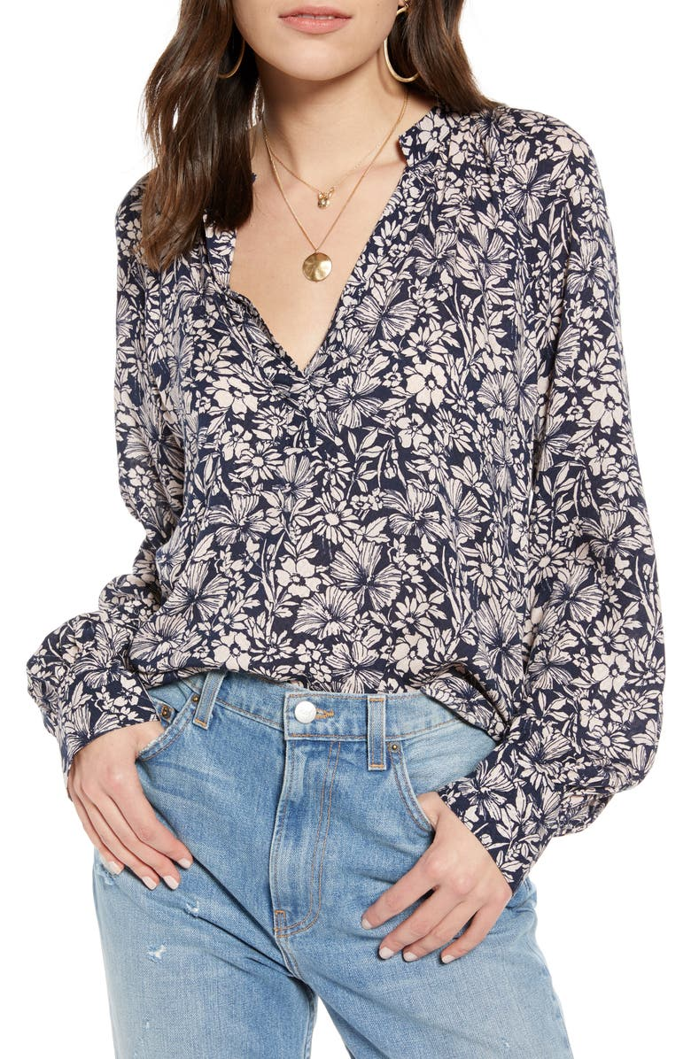 TREASURE & BOND Floral Long Sleeve Blouse, Main, color, PINK SEPIA INKED FLORAL