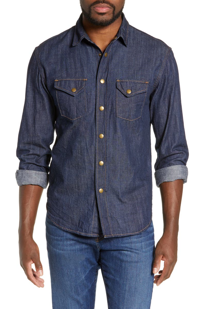 BILLY REID Distressed Denim Slim Fit Western Shirt, Main, color, 400