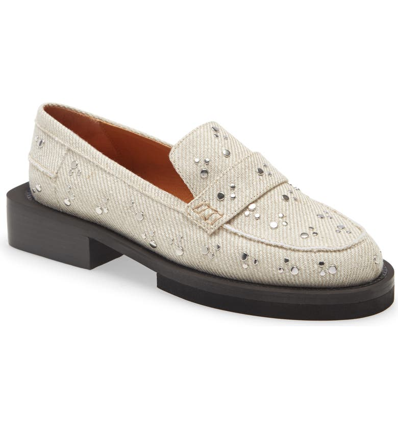 GANNI Studded Canvas Loafer, Main, color, 251
