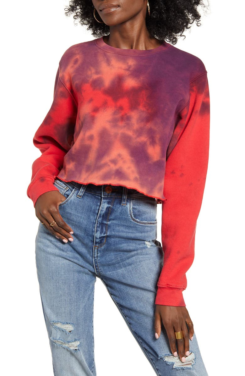 NEEMA CALIFORNIA Tie Dye Crop Pullover, Main, color, 600