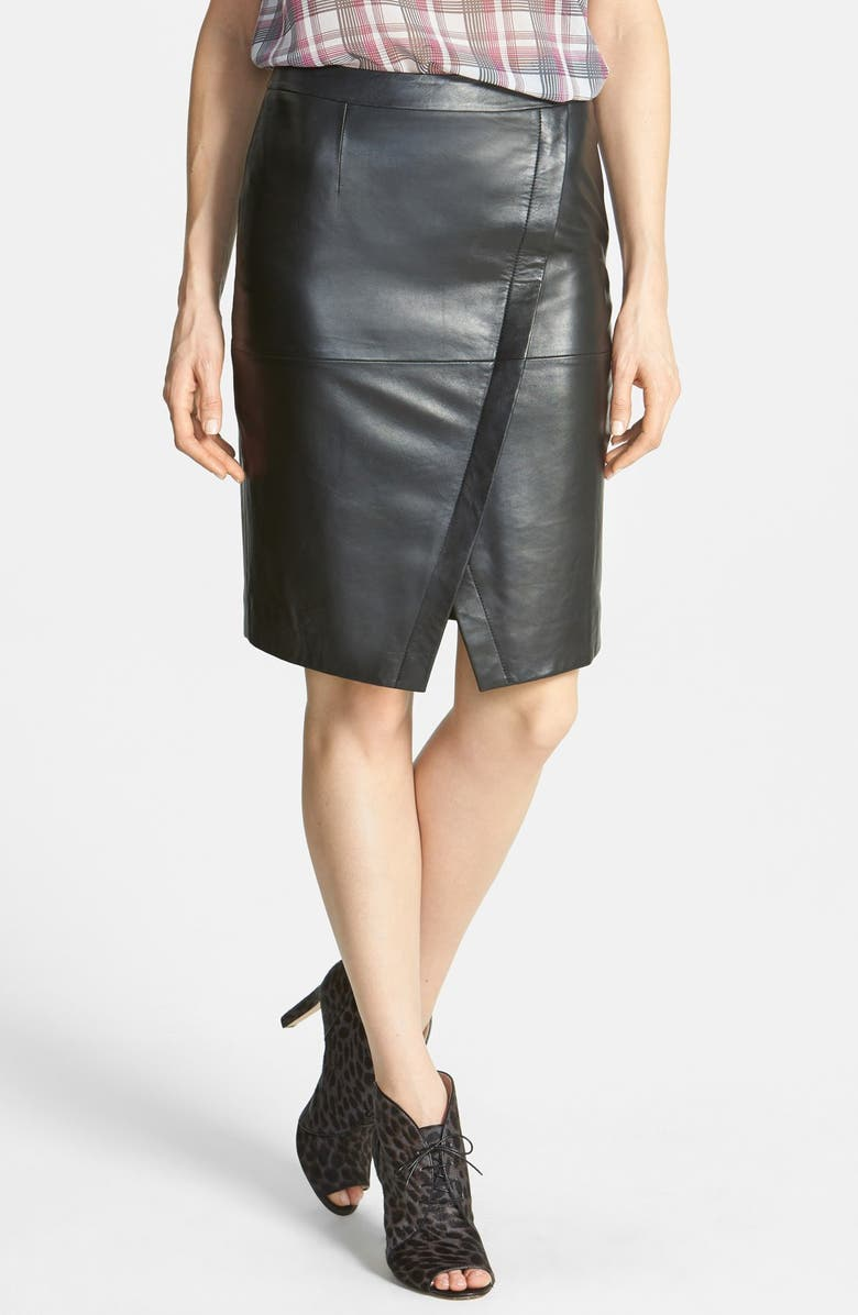 HALOGEN<SUP>®</SUP> Seamed Leather Pencil Skirt, Main, color, 001