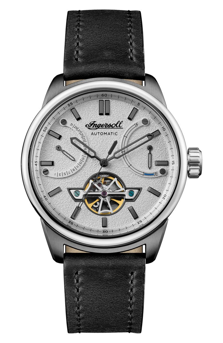 INGERSOLL Triumph Skeleton Automatic Leather Strap Watch, 44mm, Main, color, 001