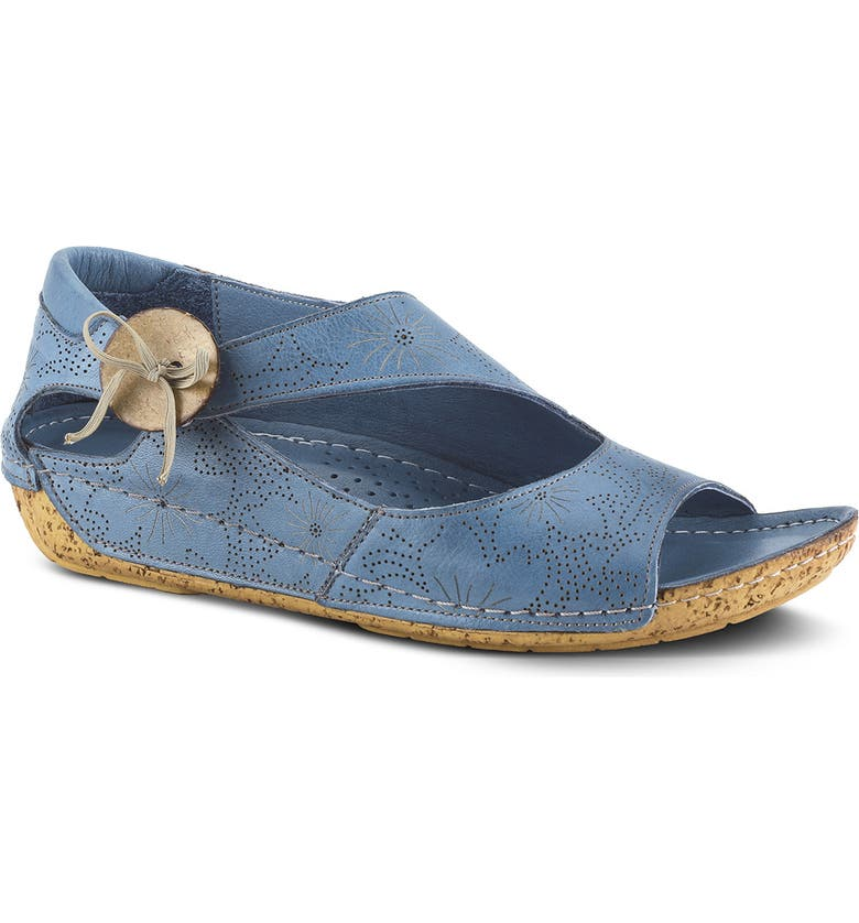 SPRING STEP Lorelle Flat, Main, color, BLUE LEATHER