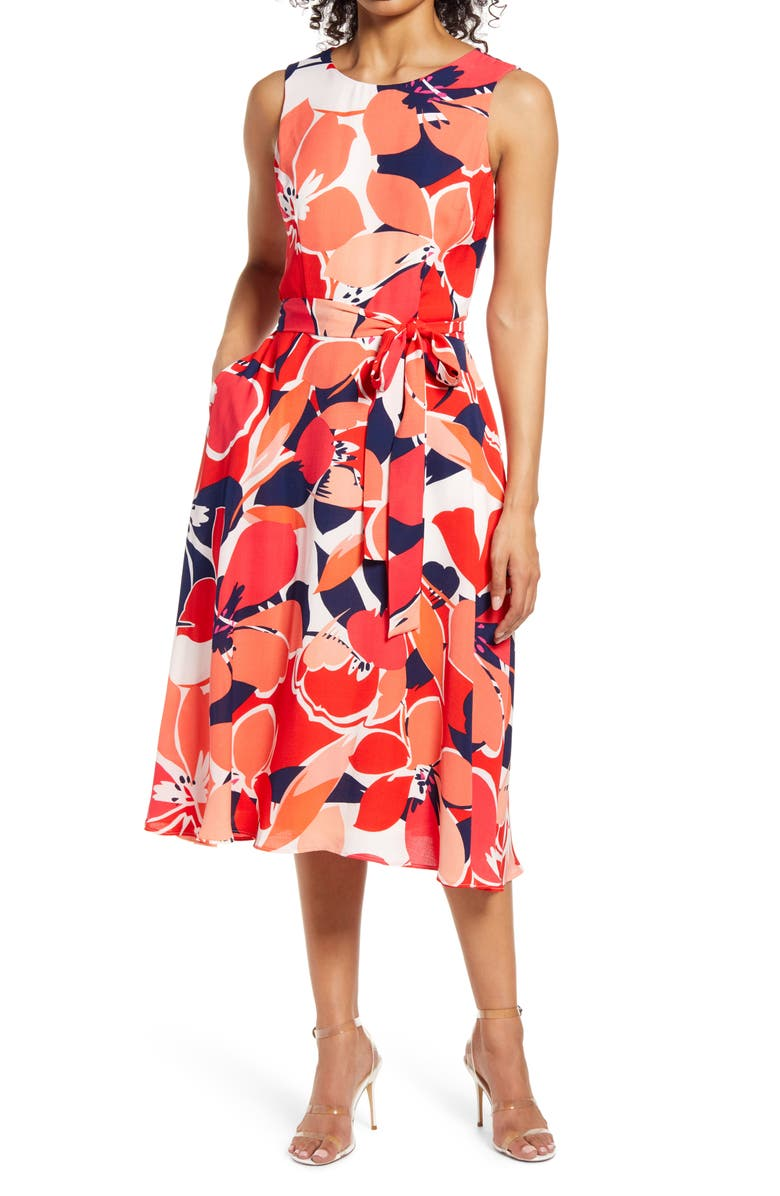 DONNA RICCO Floral Belted Fit & Flare Midi Dress, Main, color, RED MULTI