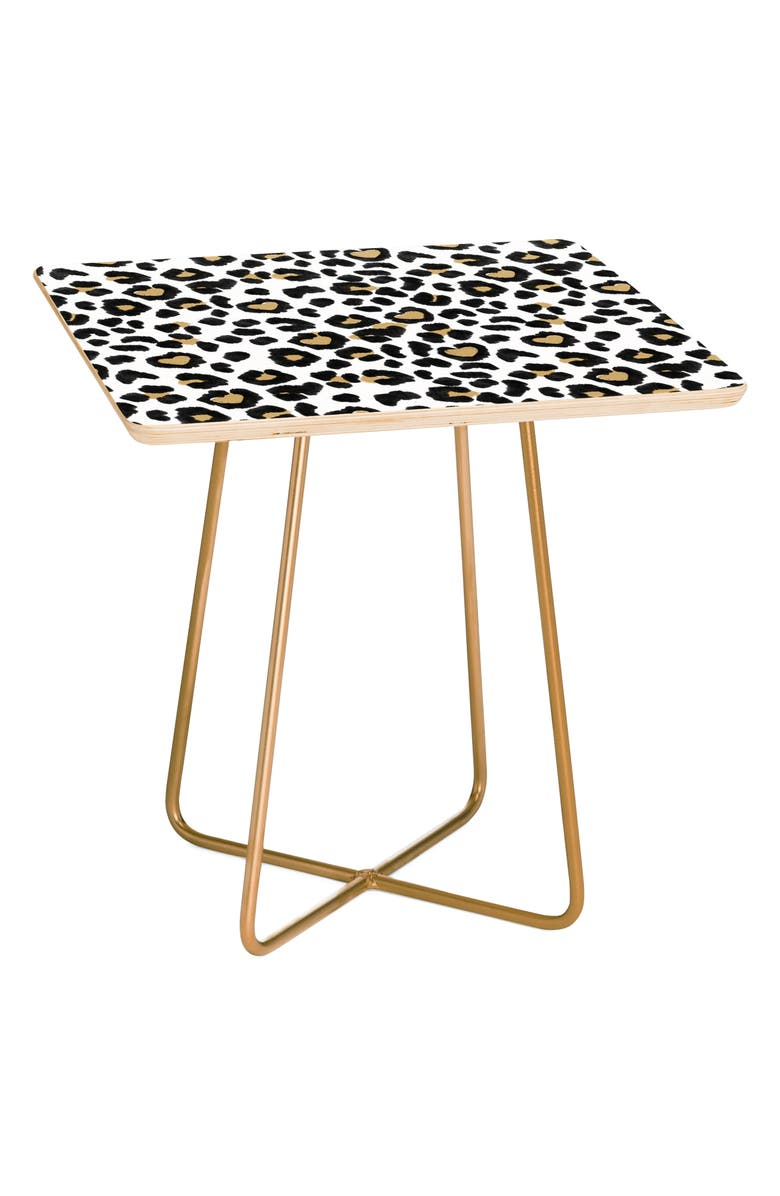DENY DESIGNS Leopard Heart Side Table, Main, color, BROWN