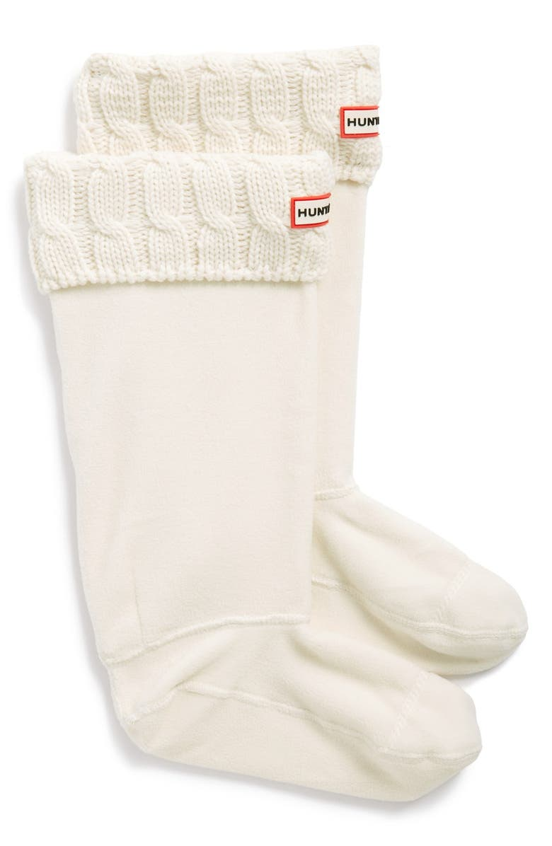 HUNTER Original Tall Cable Knit Cuff Welly Boot Socks, Main, color, 102
