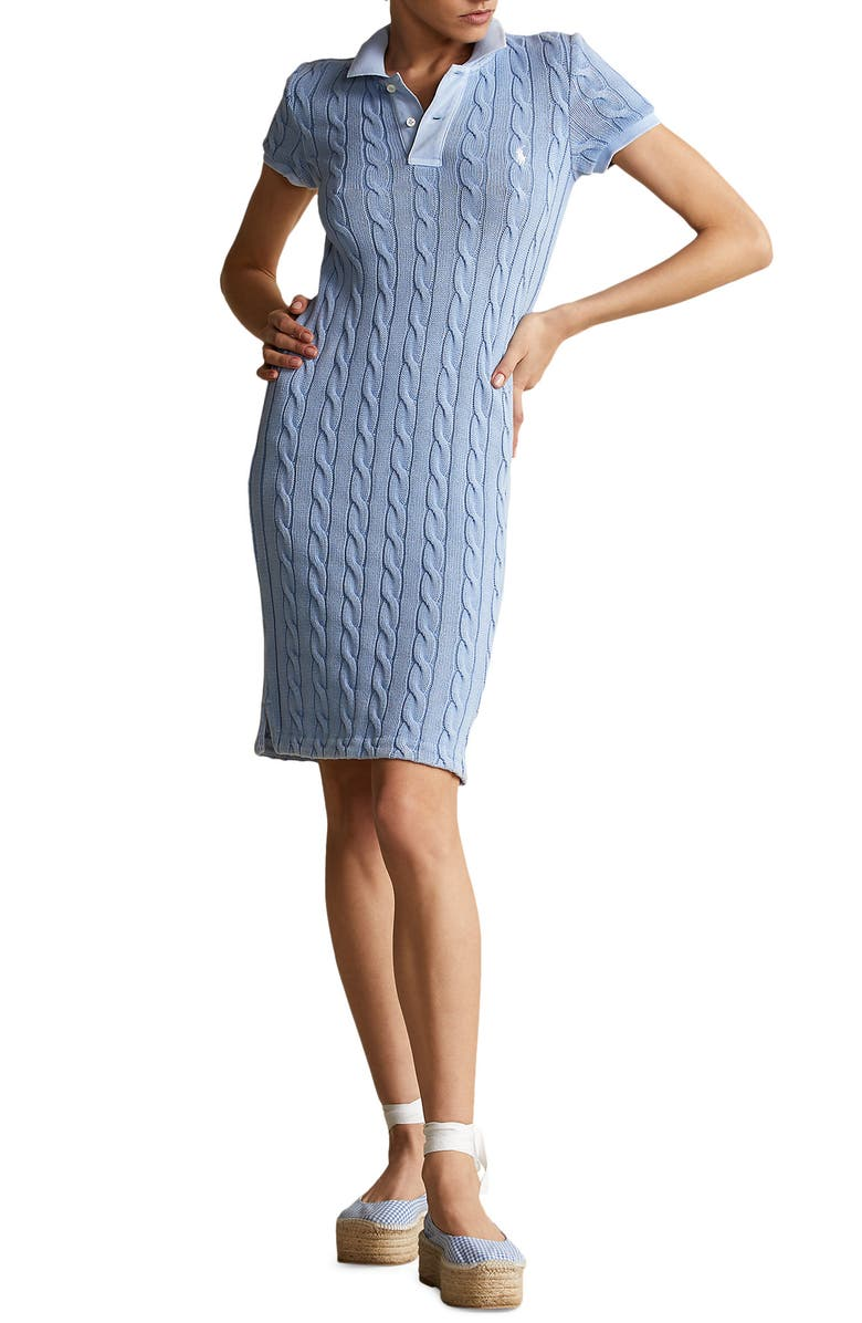 POLO RALPH LAUREN Cable Short Sleeve Sweater Dress, Main, color, CHAMBRAY BLUE