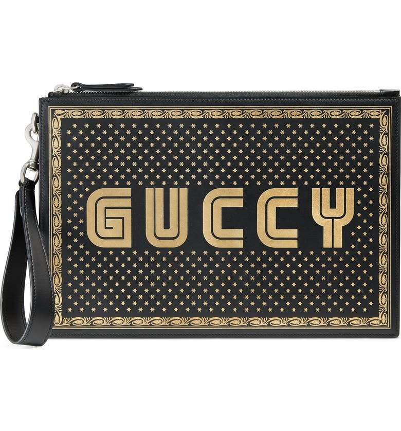 GUCCI Guccy Moon & Stars Leather Zip Pouch, Main, color, 001